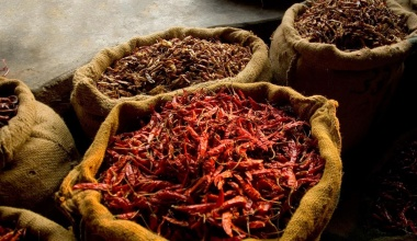 Dried chilli peppers in sacs